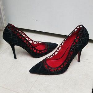 Sexy CHARLES JOURDAN Paris Black Suede Heels EUC